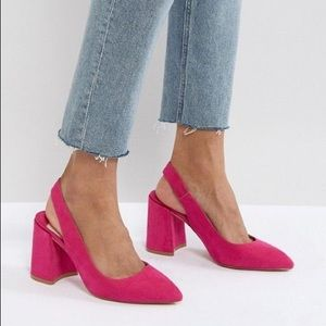 Shoes - Faith chunky slingback block heel pink size 6
